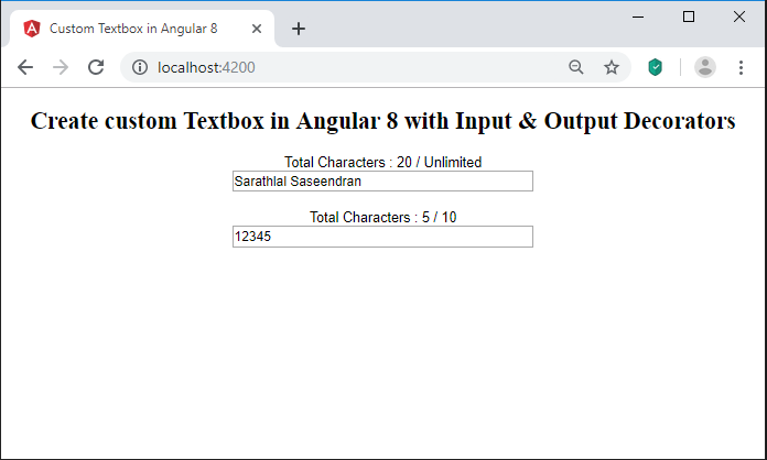Create Custom Textbox In Angular 8 Using Input And Output Decorators