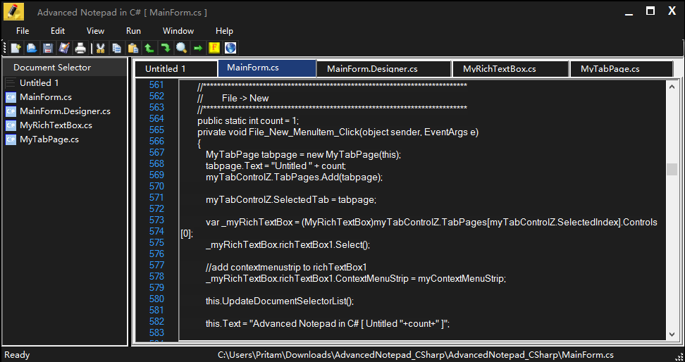 Creating Advanced Notepad In C#