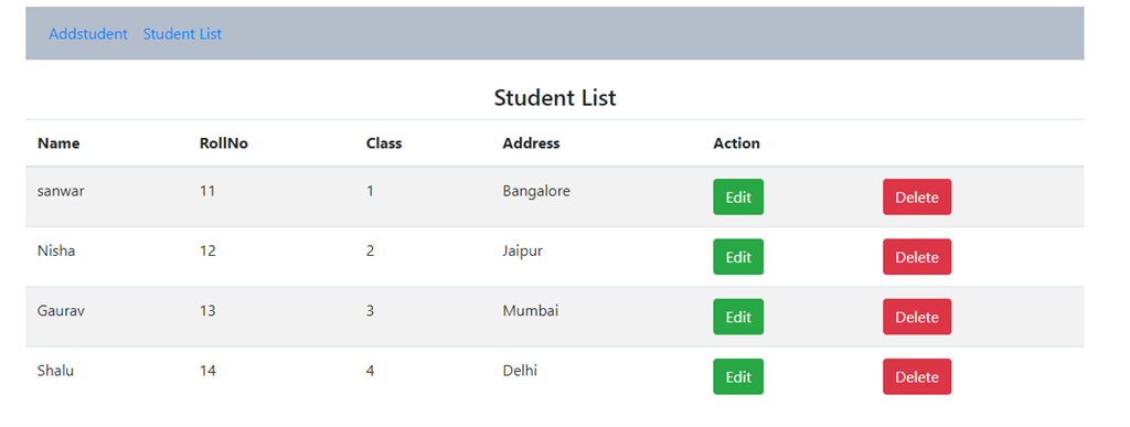 Student List application view