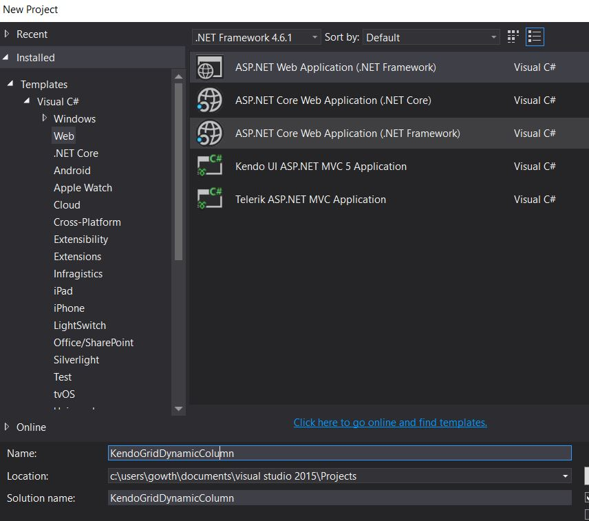 Dynamic Column Binding In The Kendo Grid Using ASP.NET Web API
