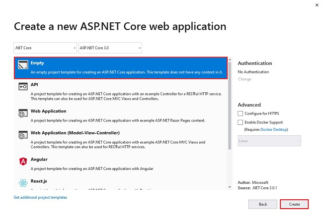 Enable Identity Core With Empty Template In ASP.NET MVC core 3.0