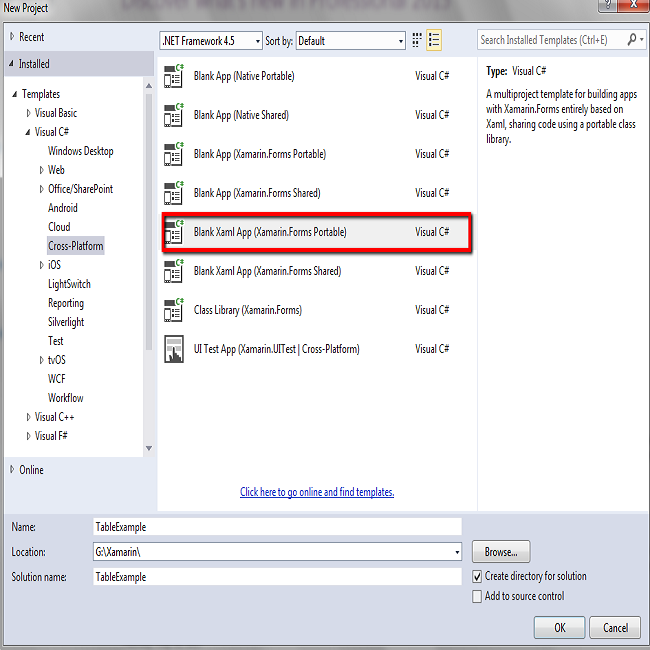 Write HTML Code In Xamarin Cross Platform With Table Example