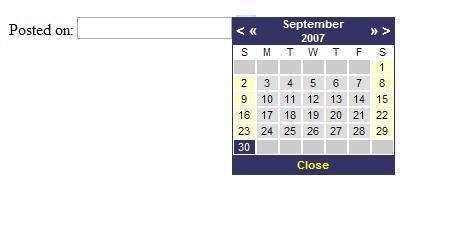 JavaScript Calendar Control in ASP NET 2 0