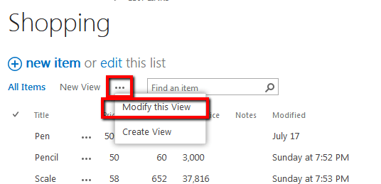 Editing and Deleting a SharePoint List View