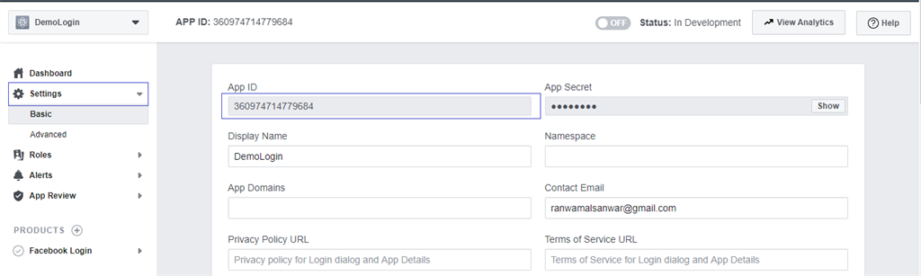 Opening application settings