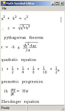 Math Equation Editor in C#