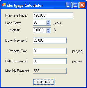 mortgage calculator in c and net