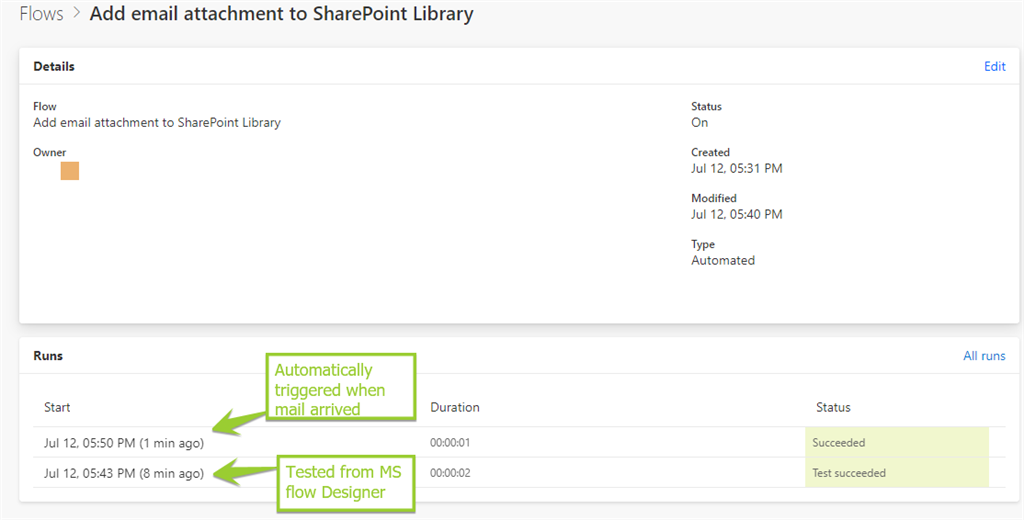 MS Flow To Save Email Attachments To SharePoint Library
