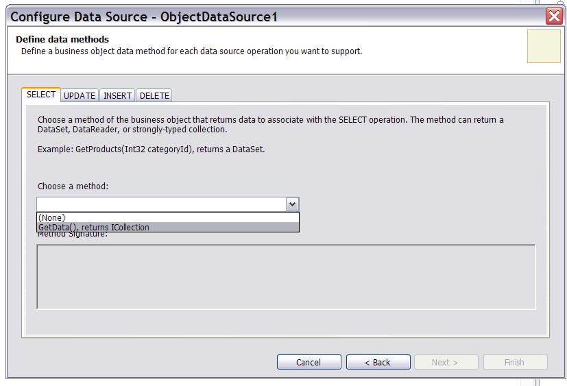 Object DataSource in ASP NET 2 0