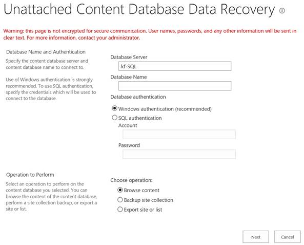 SharePoint 2016 Central Admin - Backup And Restore - Recover