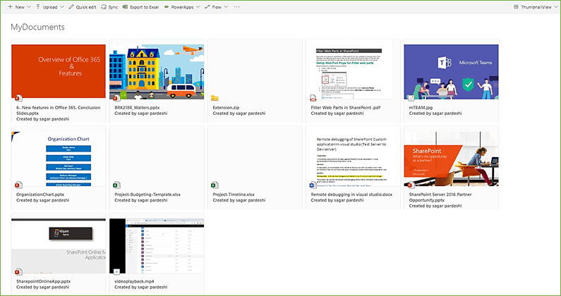 SharePoint Online Modern Document Library View Formatting - Thumbnail Along With Extension Icon And Created By