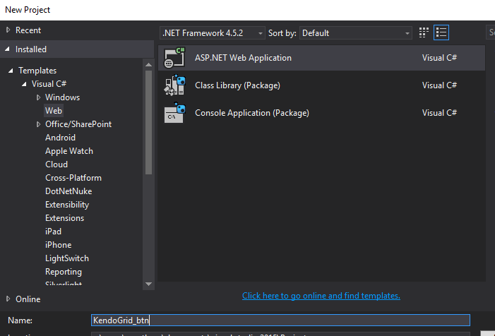 Populate The Kendo Grid On Button Click Event In ASP NET Application