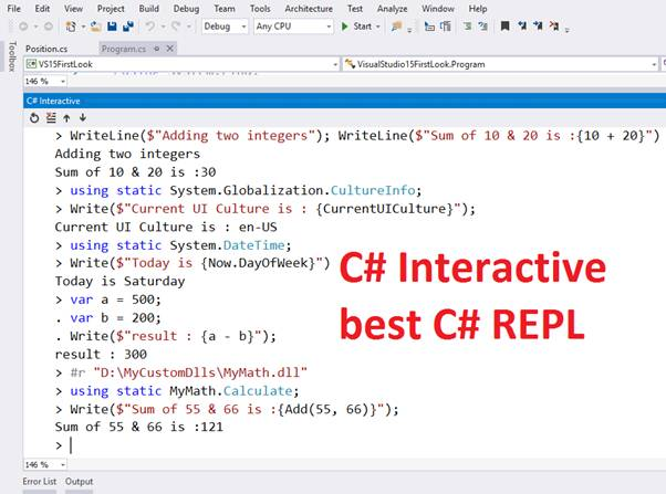 Using C# Interactive With Visual Studio 2015