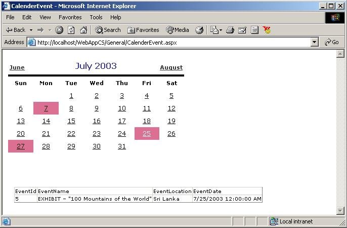 Using Calendar Control in ASP NET