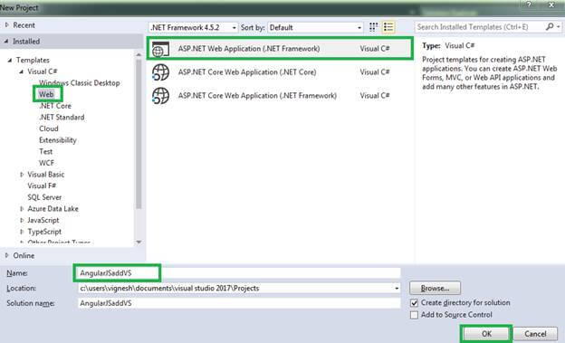 Way Of Adding Angular In Visual Studio 2017 With a Simple Method