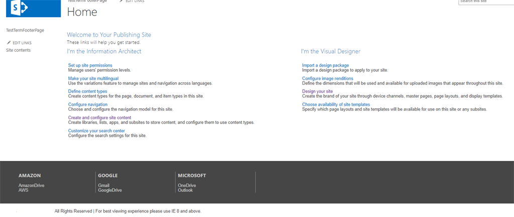 Sharepoint Online- Creating a footer