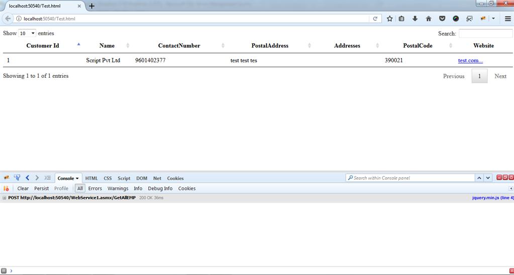Datatable In Javascript