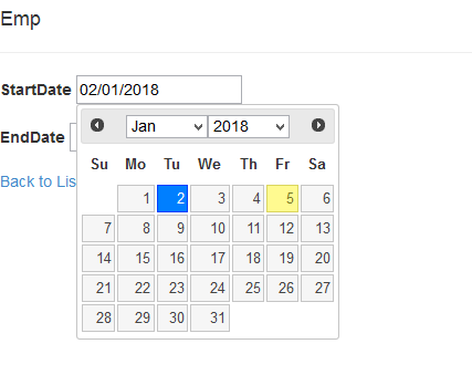 Bootstrap date range selection