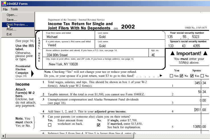 1040ez tax form: